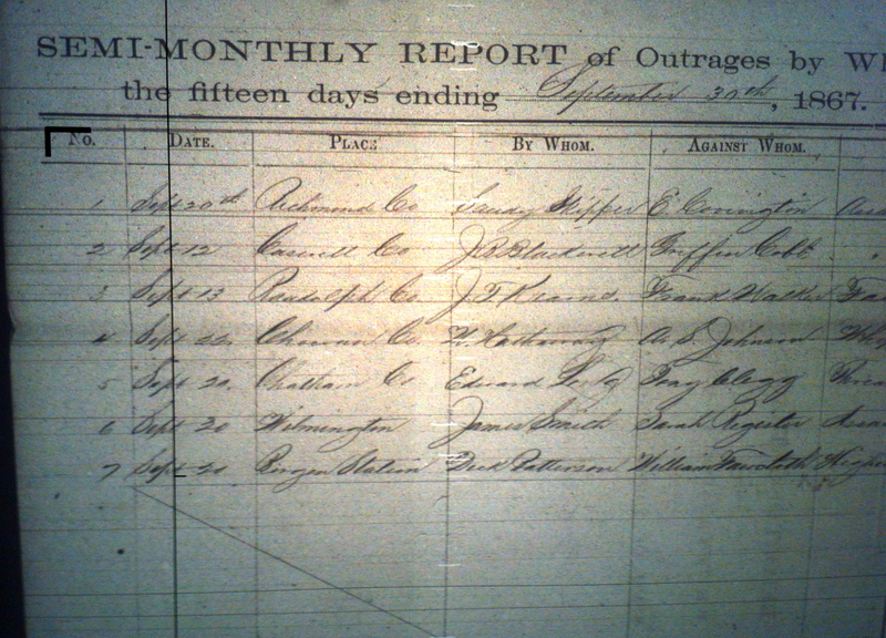 Example of Freedmen's Bureau Record of Outrages