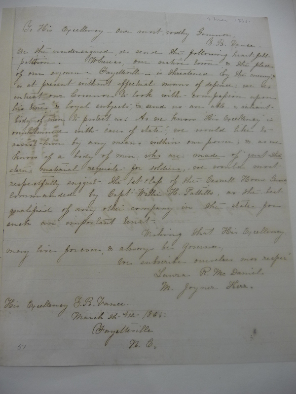 Letter from Laura R. McDaniel and M. Joyner Kerr to Zebulon Baird Vance, March 4, 1865