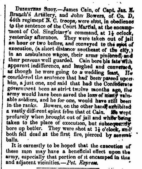 """""""Deserters Shot,"""" November 12, 1862"""