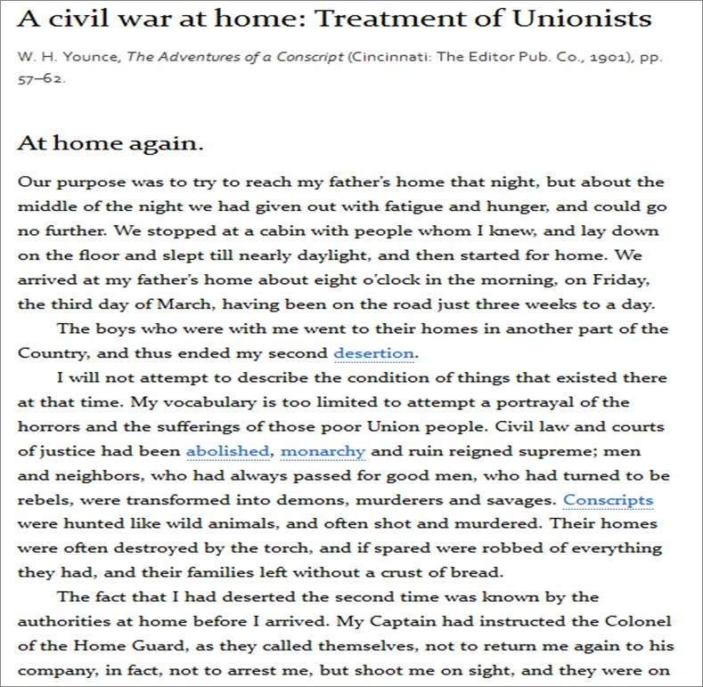 """Younce, W. H. """"A civil war at home: Treatment of Unionists"""" (1901)"""