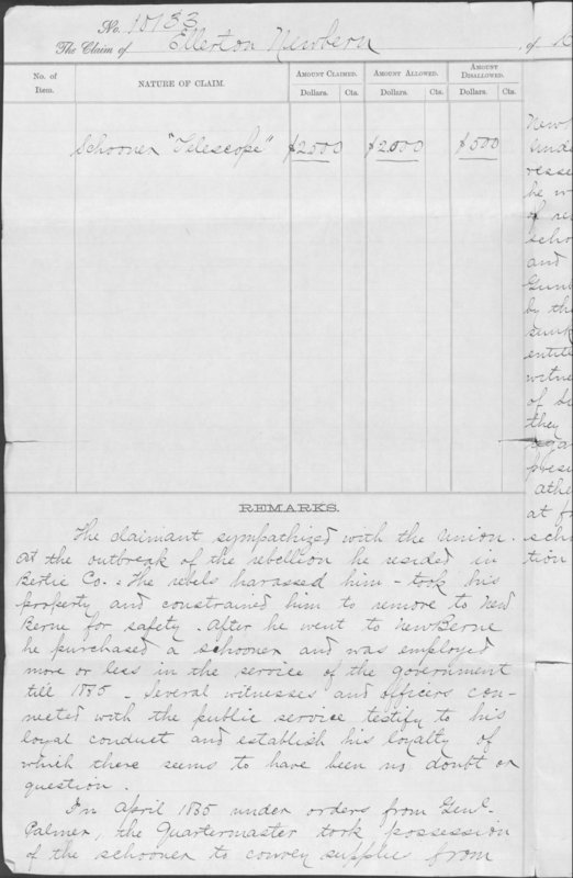 Southern Claims Commission remarks on the claim of Ellerton Newberne.