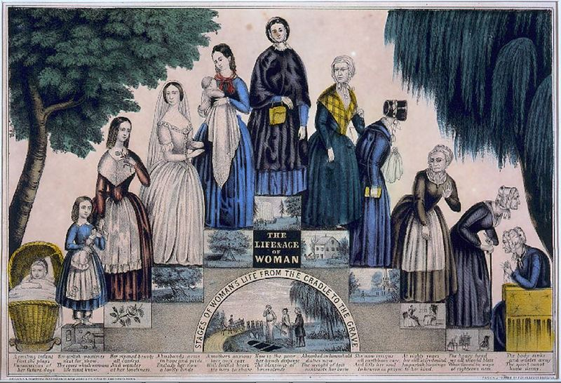 """The Life and Age of Woman. Stages of Woman's Life From the Cradle to the Grave"" Kelloggs and Comstock, 1849"