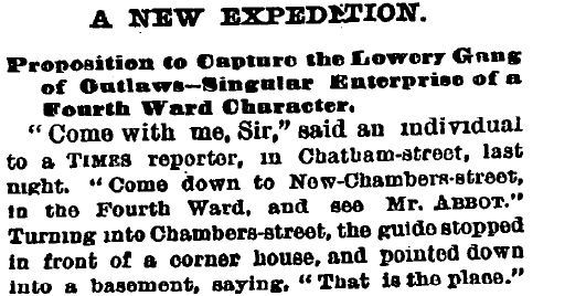 A New Expedition : Proposition to Capture the Lowery Gang of Outlaws Singular Enterprise, The New York Times, March 18, 1872