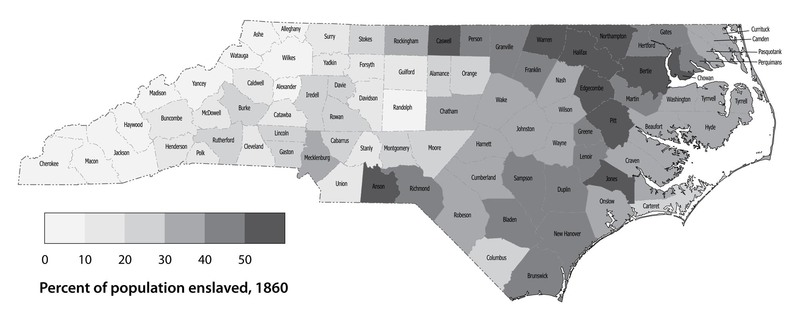 Map of Slave Populations in North Carolina