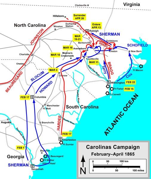 Map of the Carolinas Campaign