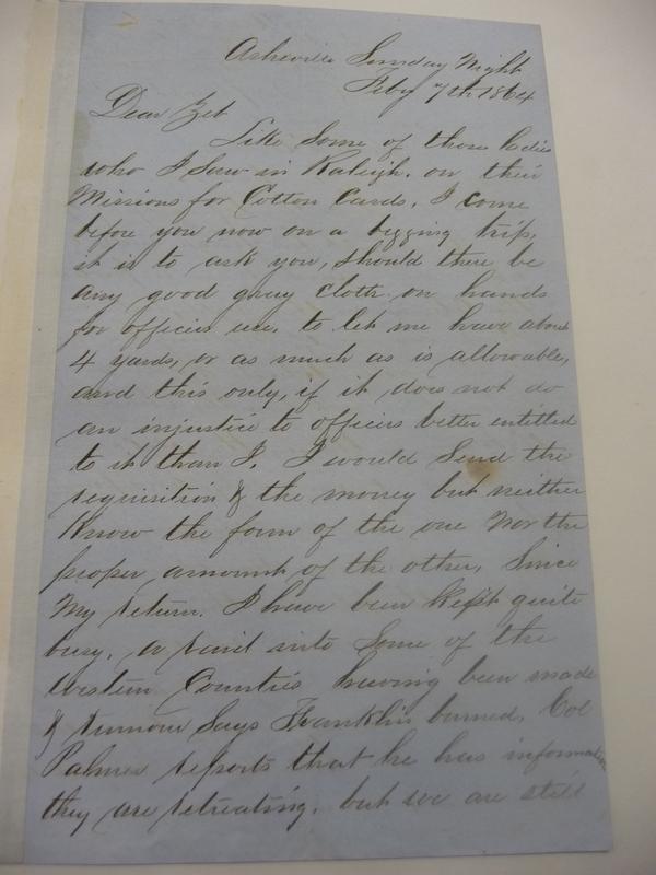 Letter from Murdoch to Zebulon Baird Vance, July 7, 1864