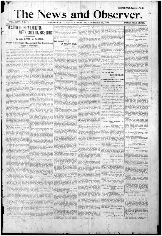 """The Story Of The Wilmington, North Carolina, Race Riots"" Raleigh <em>News and Observer,</em> November 27, 1898"