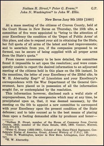 Letter of Nathan H. Street, Peter G. Evan,  John N. Washington to John W. Ellis, January 9, 1859