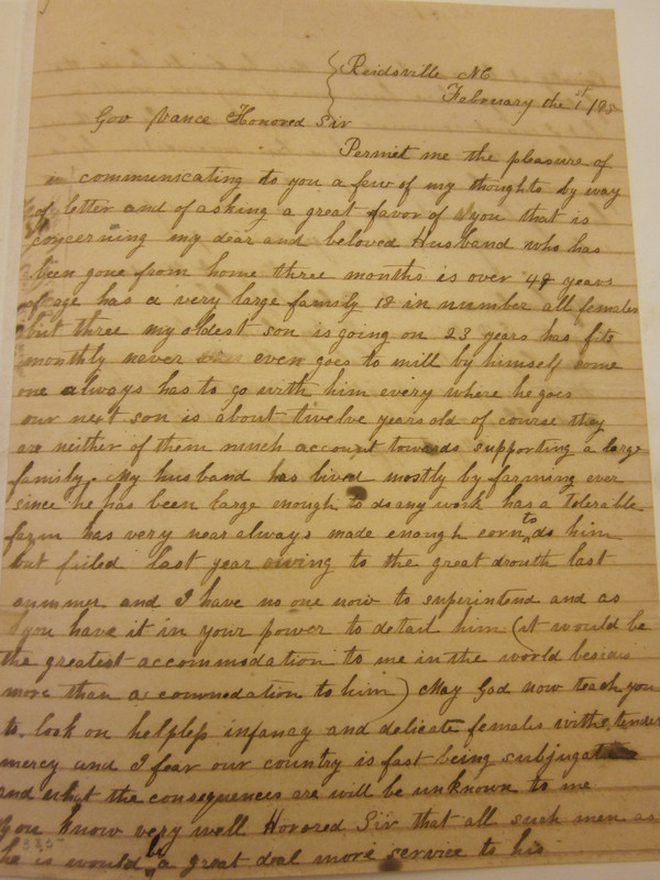 Letter from Mary A. Windsor to Zebulon Baird Vance, February 1, 1865