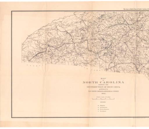 Washington Caruthers Kerr and Henry Benjamin Charles Nitze, Map of North Carolina Showing the Distribution of Iron Ores, 1892