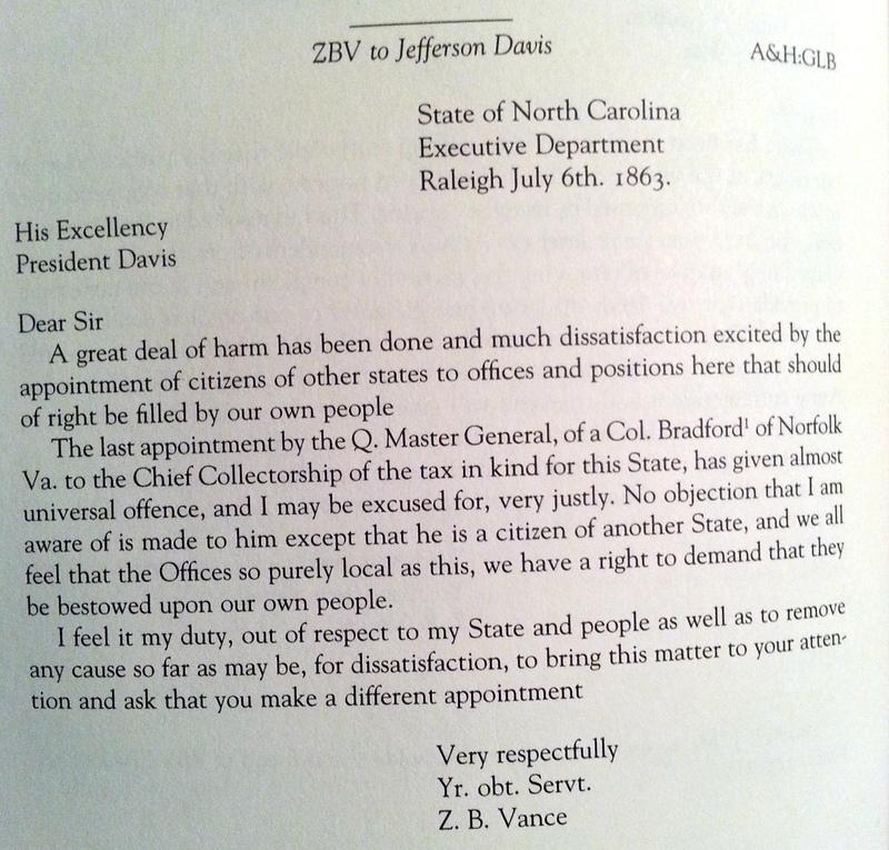 Zebulon Baird Vance to Jefferson Davis, July 06, 1863