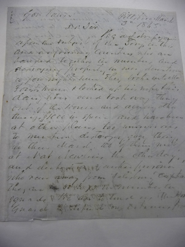 Letter from The Citizens of Pittsboro to Zebulon Baird Vance, March 3, 1865