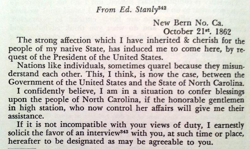 Edward Stanly to Zebulon Baird Vance, October 21, 1862