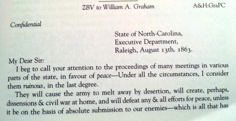 Zebulon Baird Vance to William A. Graham, August 13, 1863