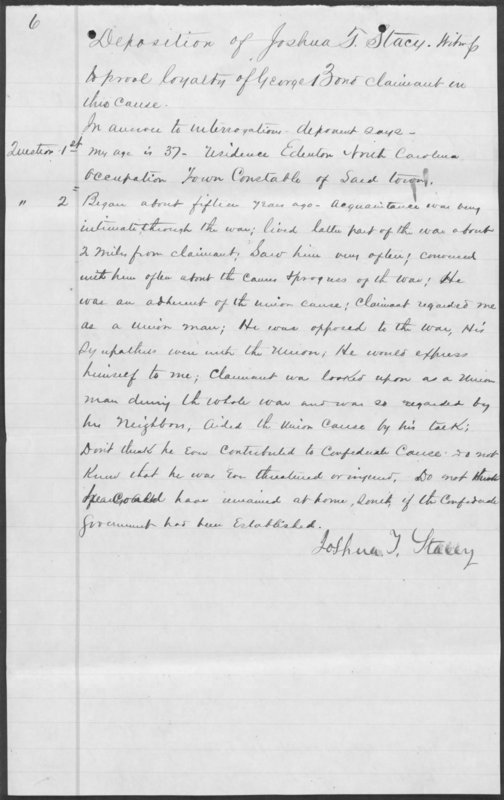 Southern Claims Commission Testimony for George Bond, Deposition of Joshua T. Stacy
