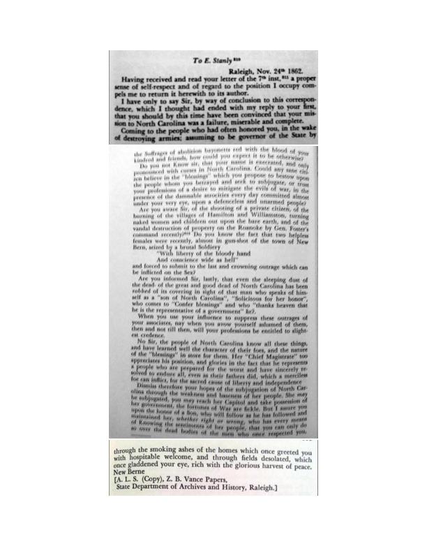 Letter from Zebulon B. Vance to Edward Stanly, November 24, 1862