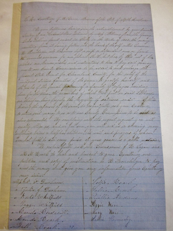 Letter from R. M. Roark to Zebulon Baird Vance, September, 1863