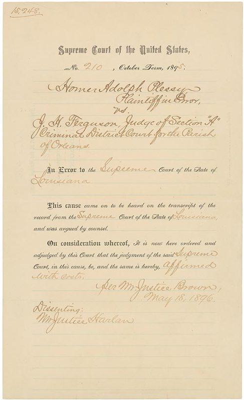 Plessy v. Ferguson, 163 U.S. 537 (1896)