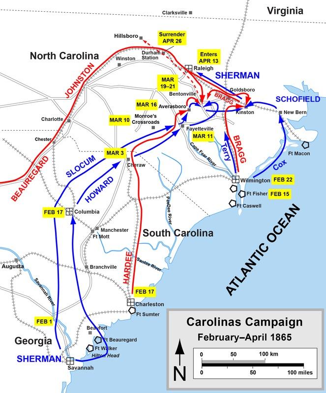 Map of Carolinas Campaign