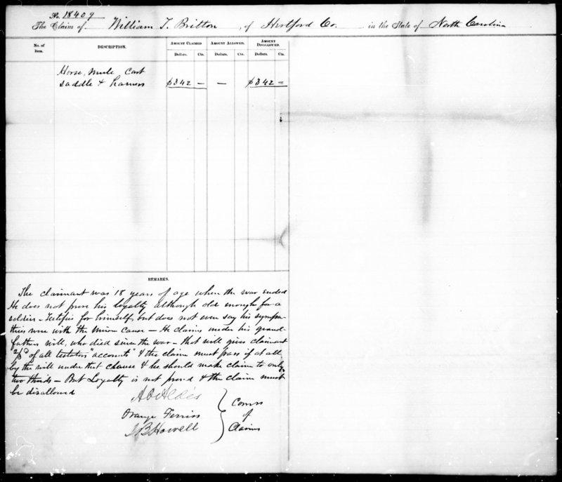 Summary Report, Claim of William Britton, June 11 1872