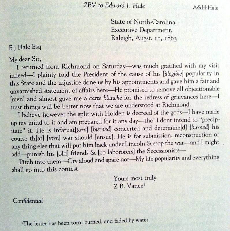 Zebulon Baird Vance to Edward J. Hale, August 11, 1863.