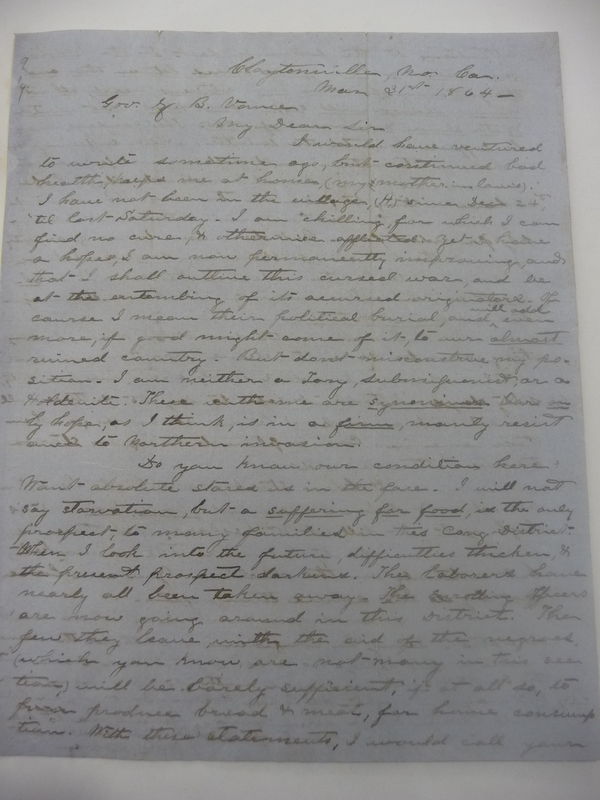 Letter from Mrs. Love to Zebulon Baird Vance, March 31, 1864