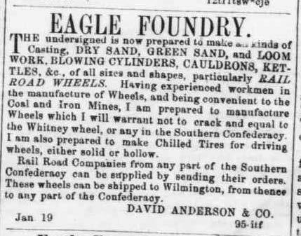 "David Anderson &amp; Co., ""Eagle Foundry,"" Fayetteville <em>Observer, &nbsp;</em>March 23, 1863"