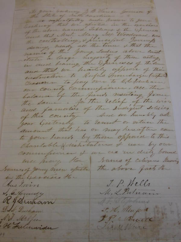 Letter from Ladies of Cleveland County NC to Zebulon Baird Vance, September, 1863