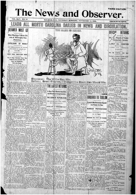 """""""Defamer Must Go"""" Raleigh <em>News and Observer, </em>November 10, 1898"""