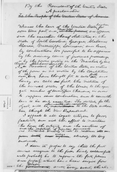 """""""Proclamation on State Militia,"""" Abraham Lincoln, April 15, 1861"""