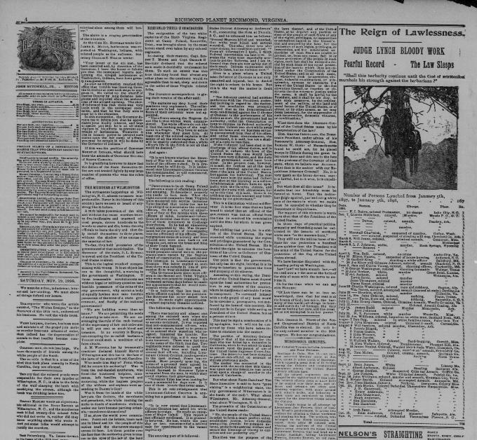 """The Excuses At Washington,"" Richmond <em>Planet,</em> November 19, 1898"
