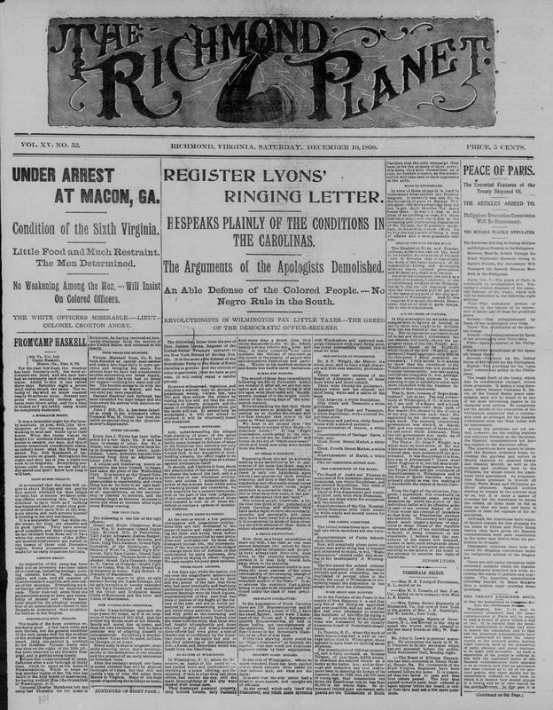 """Register Lyons' Ringing Letter."" Richmond <em>Planet, </em>November 10, 1898"