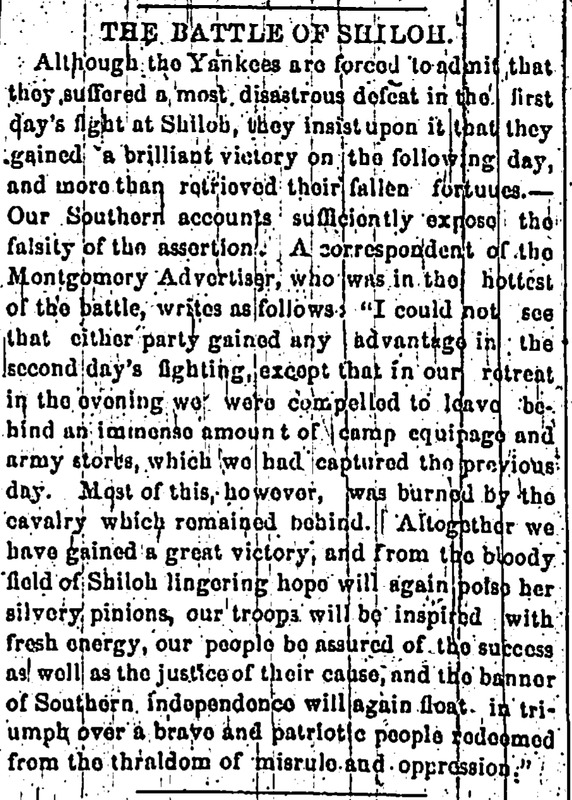 """The Battle of Shiloh,"" April 30, 1862"