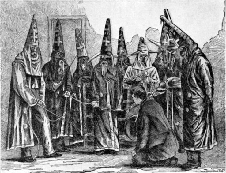 Ku Klux Klan Costumes from North Carolina, 1870. (Engraving made from an 1870 photograph by U.S. Marshal J. G. Hester.)