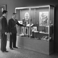 ROTC students view Civil War exhibit at NCSU, 1960