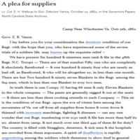 A Plea for Supplies