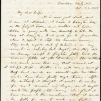 Letter from Benjamin S. Hedrick to his wife Mary Ellen Hedrick, October, 22 1856, Page 1