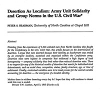 Desertion as Localism: Army Unit Solidarity and Group Norms in the U.S. Civil War